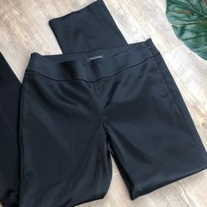 WHBM Black Silky Flat Front Dress Slim Leg Pants 6